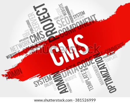 CMS Content Management System word cloud, business concept - stock vector