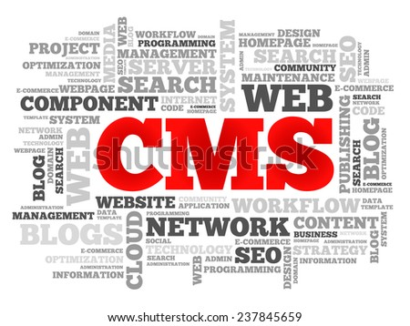 CMS Content Management System word cloud, vector business concept - stock vector