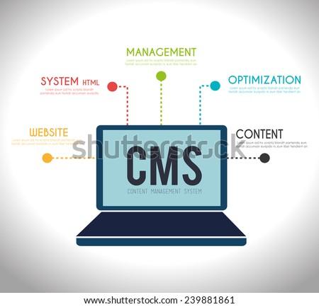 CMS design over white background, vector illustration. - stock vector