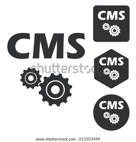 CMS settings icon set, monochrome, isolated on white - stock vector