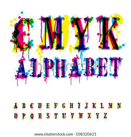 CMYk alphabet. Composition from unrecognized different letters and drops and streaks. Contains three separate layers, easily edit and mix colors. - stock vector