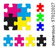 CMYK and RGB jigsaw puzzle pieces set - stock vector
