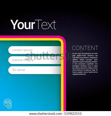 Cmyk, bottom corner and dark edition of a scalable abstract geometric flat gui design for placing objects, images, icons, photos, and content. For print, for desktop, application or for universal use. - stock vector