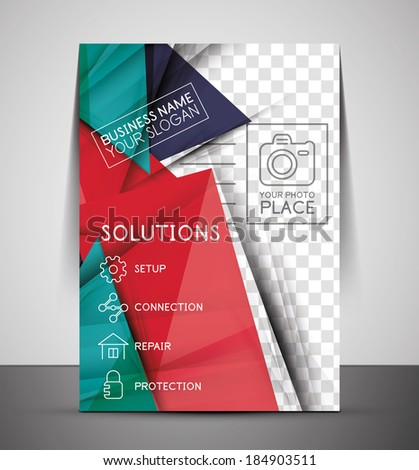 Cmyk business corporate flyer template geometrical design stock