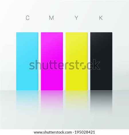 Cmyk Color Chart Reflection Web Design Stock Vector