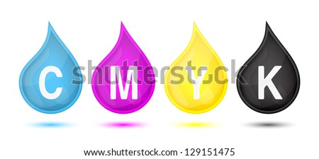 CMYK color modes droplet, vector illustration - stock vector