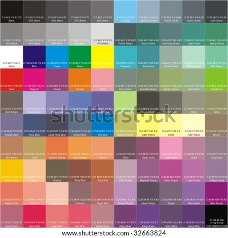 CMYK color palette with the signatures of colors - stock vector