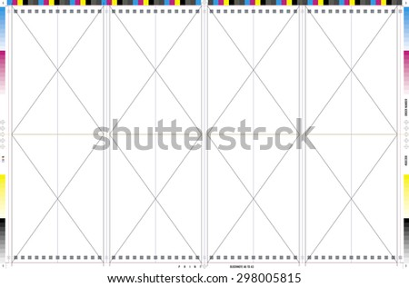 CMYK color Vector Template for prepress imposition layout notebook A6, stamped by punching a metal spring, to A3 paper format.  - stock vector