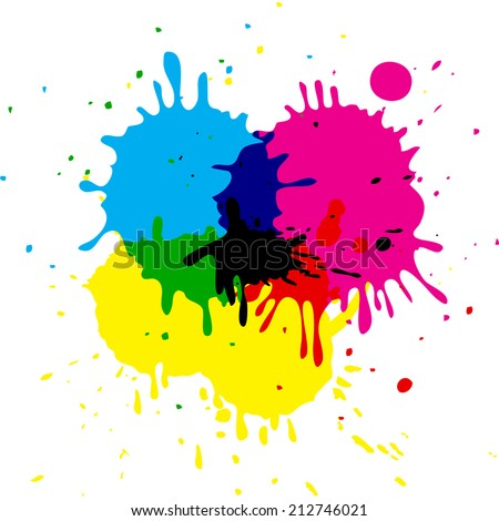 CMYK colored vector isolated stains  - stock vector