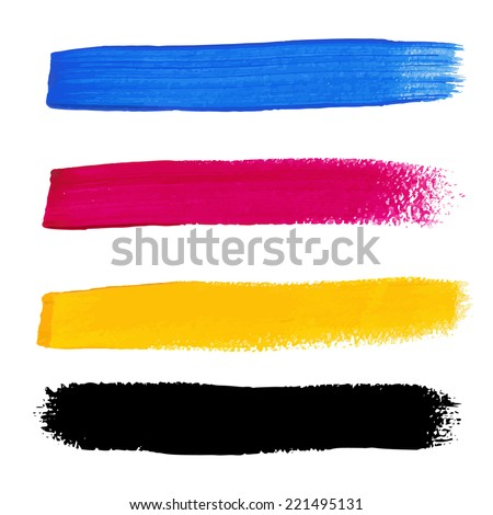 CMYK colors vector acrylic stains