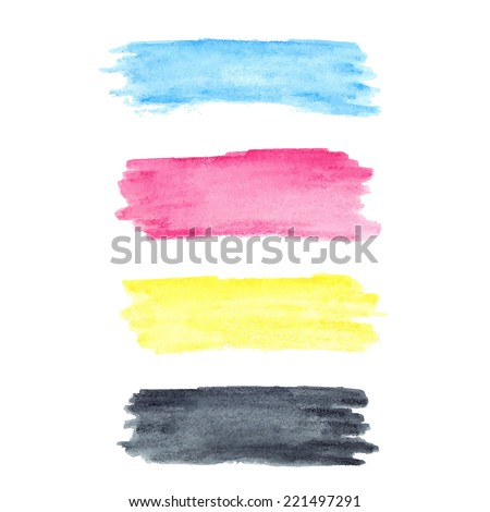 CMYK colors vector watercolor stains - stock vector