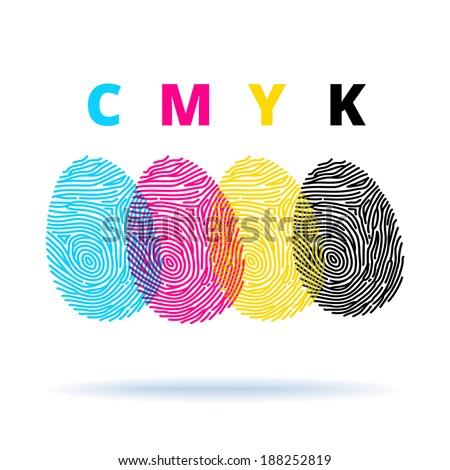 cmyk concept with fingerprints  - stock vector