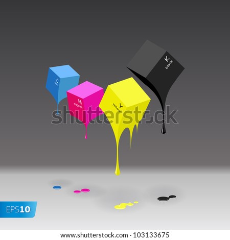 CMYK cubes with blobs on grey background, vector EPS 10 illustration. - stock vector