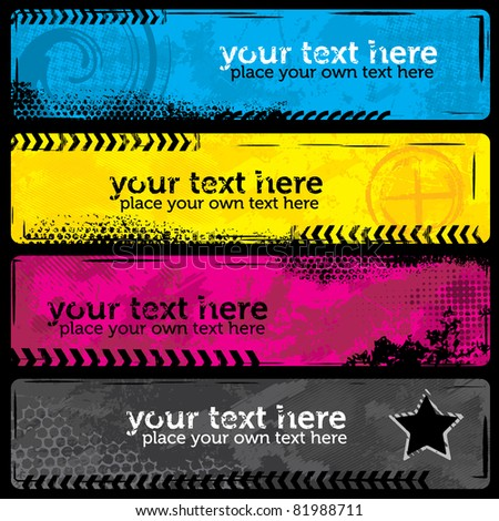 CMYK Grunge Banners - stock vector