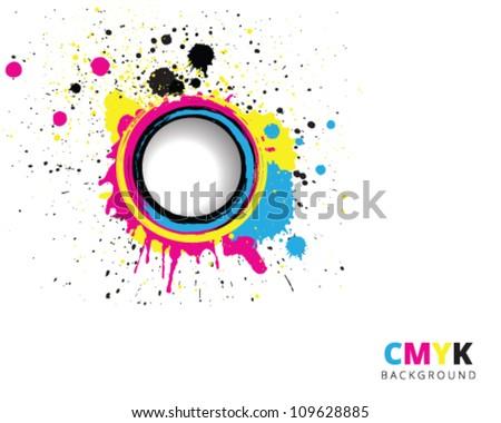 CMYK paint splash background - stock vector