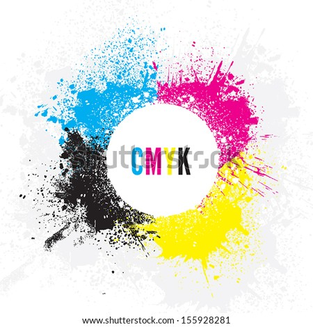 CMYK Paint Splatters - stock vector