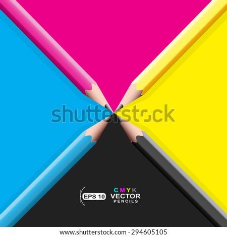 CMYK Pencils - stock vector