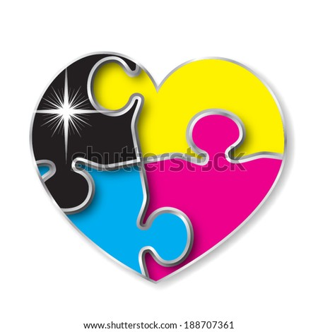 CMYK puzzle jigsaw pieces heart - stock vector