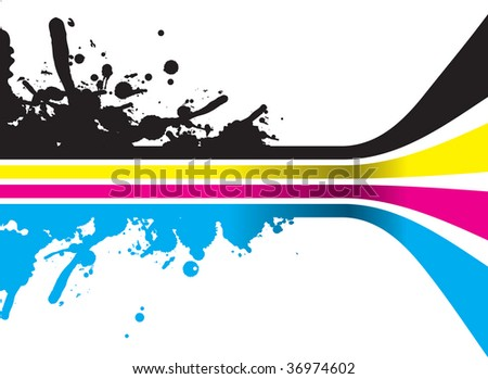 cmyk splash lines with perspective - stock vector
