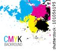 CMYK Splatter Background - stock vector