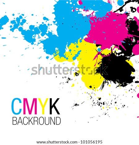 CMYK Splatter Background - stock vector