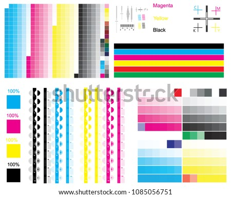 CMYK Standard Offset Vector Color Bar And Test Shart Print Control Strips