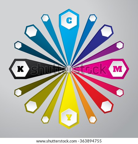 Cmyk wallpaper with 3d hexagon buttons and color combinations - stock vector
