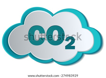 CO2 Carbon Dioxide formula Chemistry symbol on a Cloud, Vector Illustration.   - stock vector