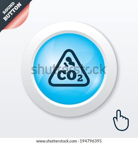 CO2 carbon dioxide formula sign icon. Chemistry symbol. Blue shiny button. Modern UI website button with hand cursor pointer. Vector - stock vector