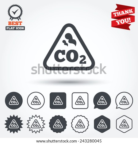 CO2 carbon dioxide formula sign icon. Chemistry symbol. Circle, star, speech bubble and square buttons. Award medal with check mark. Thank you ribbon. Vector - stock vector