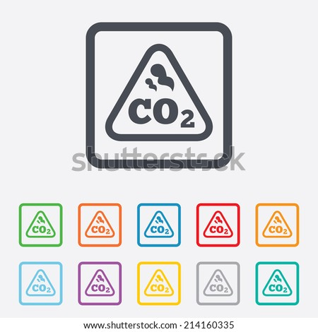 CO2 carbon dioxide formula sign icon. Chemistry symbol. Round squares buttons with frame. Vector - stock vector