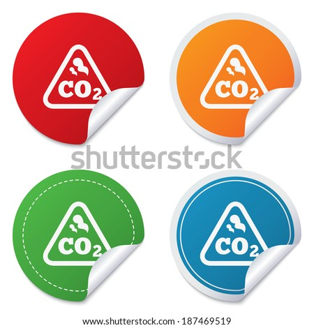 CO2 carbon dioxide formula sign icon. Chemistry symbol. Round stickers. Circle labels with shadows. Curved corner. Vector - stock vector