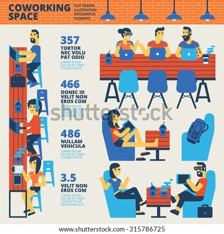 Co-working Space Infographics - stock vector