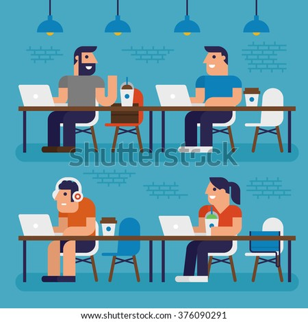 Co-working Space, Pixel Perfect Design - stock vector