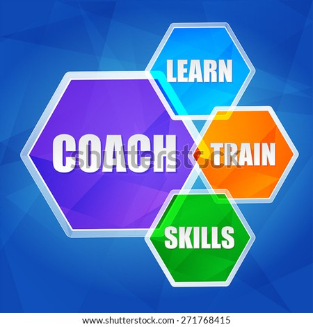 coach, learn, train, skills - business education motivation concept words in color hexagons over blue background, flat design, vector - stock vector