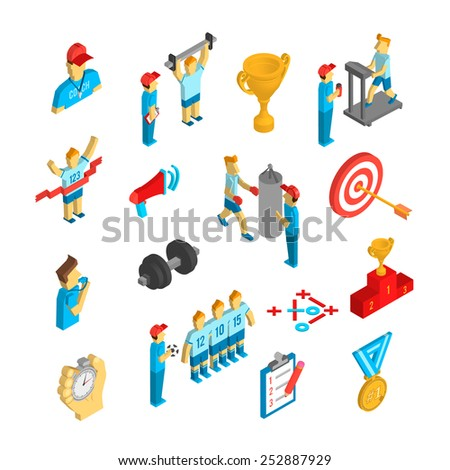 Coaching athlete performance sport decorative icon isometric set isolated vector illustration - stock vector