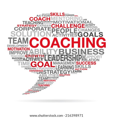 Coaching business and life success concept with different red, black and gray words forming a speech cloud  shape. EPS 10 vector illustration on white background. - stock vector