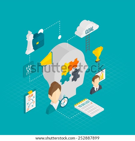 Coaching business concept with training and motivation isometric decorative icons vector illustration - stock vector