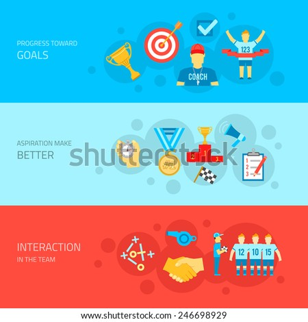 Coaching sport match training flat horizontal banner set isolated vector illustration - stock vector