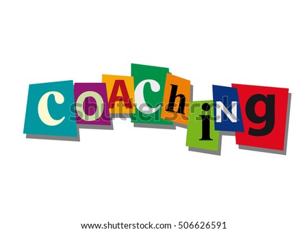 coaching, word and text cut from paper, in flat design
