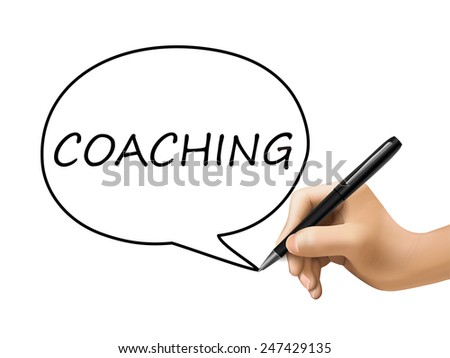 coaching word written by 3d hand over white - stock vector