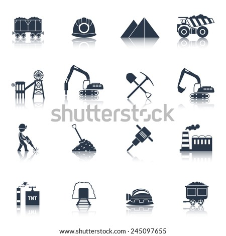 Coal industry icons black set with train truck factory isolated vector illustration - stock vector