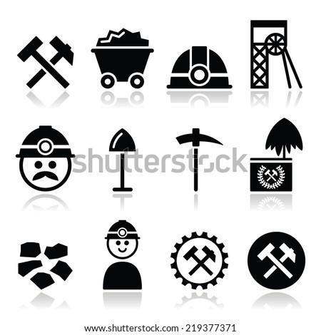 Coal mine, miner icons set  - stock vector