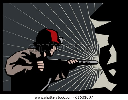 coal miner with jackhammer - stock vector