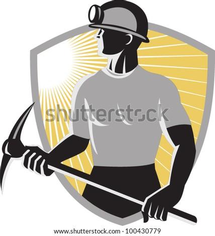 Coal Miner With Pick Ax Shield Retro - stock vector