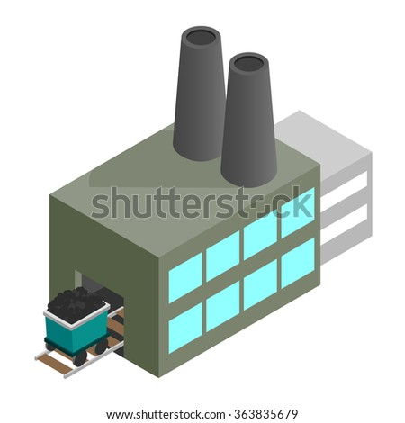 Coal plant 3d isometric icon isolated on a white background - stock vector