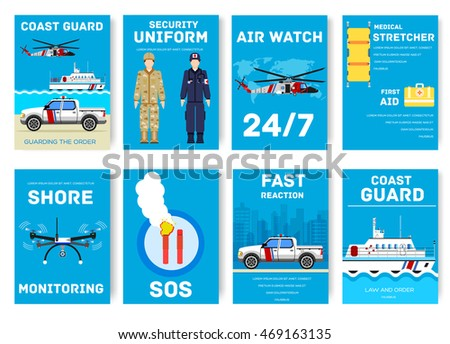 coast guard day cards set. Guarding the order of flyear, magazines, posters, book cover, banners. Devices infographic concept background. Layout illustrations template pages with typography text