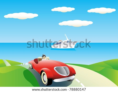 Coastal landscape with car and yacht. - stock vector