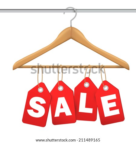 coat hanger and sale tag on white background