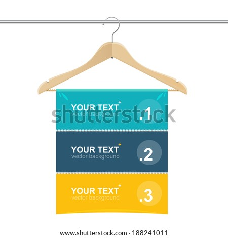Coat hanger wood like text headers template - stock vector